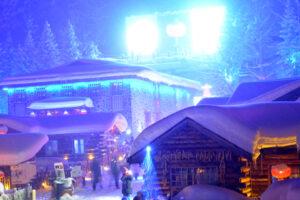 Meng Huan Jia Yuan, Snow Town, China at night