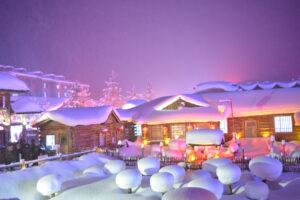 Meng Huan Jia Yuan, Snow Town, China, at night.